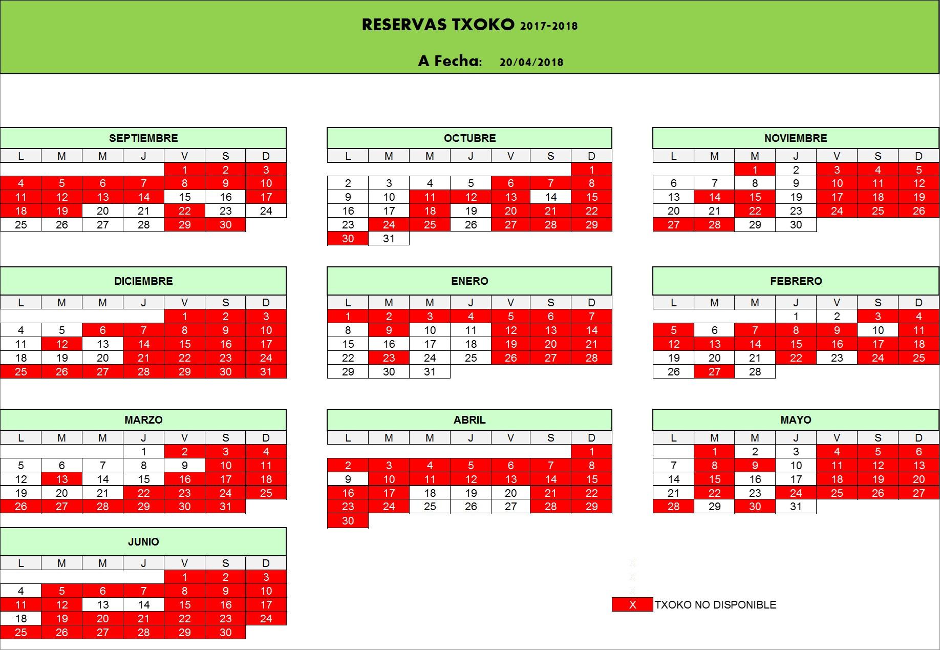 Calendario Deusto.Calendario 20 04 2018